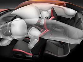Airbags frontales y laterales (conductor y acompañante), de rodilla (conductor) y de cortina delanteros y traseros.